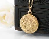 Antique Locket | Solid 10ct Gold Edwardian Locket | Stamped 10K Gold | Wightman & Hough Solid Gold Locket | Wedding Necklace - 22 Inch Chain