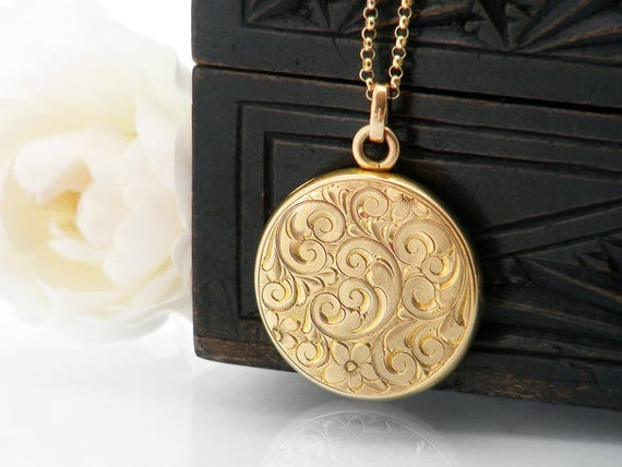 Antique Locket | Solid 10ct Gold Edwardian Locket | Stamped 10K Gold | Wightman & Hough Solid Gold Locket | Wedding Necklace - 22 Inch Chain