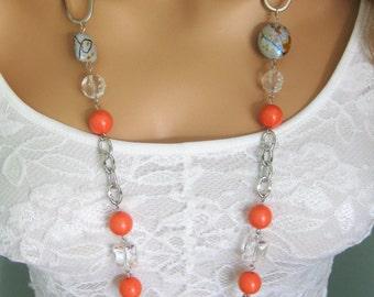 Long Chunky Orange Beaded Necklaces, Orange Beaded Necklaces, Long Beaded Necklaces, Orange Necklace, Long Necklaces, Beaded Necklaces, N857