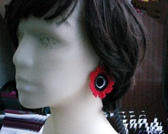 Crochet Flower Earrings Statement Bridesmaid gift Lightweight Dangle Earrings