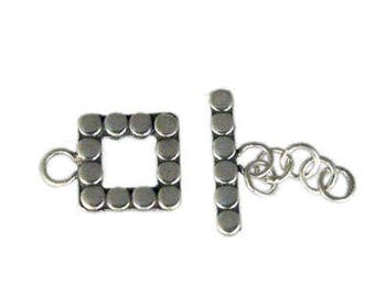 Take 15% off with 15OFF20, 1 SET Bali Oxidized Sterling Silver Square Toggle Clasp, Square Loop 9.2mm (outside), 5mm (inside), 14mm long bar