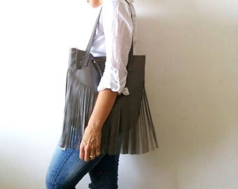 Fringes  Leather tote bag - Shoulder Bag -Every day leather bag - Women bag- GRAY