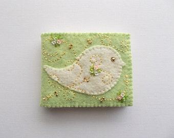 Needle Book Spring Green Felt Needle Keeper with Off White Folk Art Bird Swirls and Little Sequin Flowers Handsewn