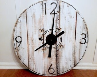 Large Wall Clock-Recycled-Repurposed Wood-Rustic Two Sizes Available