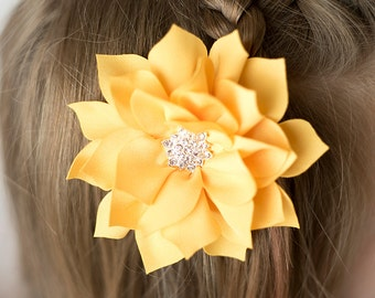 Yellow Poinsettia flower, 3 inch, flower hair clip, yellow hair clip, girl hair clip, girl hair bow, hair accessories, hair clips for girls