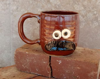 Mustache Mug. Pottery Ceramic Face Mug with Bushy Mustache. Rustic Red. Fun Husband Man Gift. Uptight Witty Coffee Cup. Unique Gifts. 16 oz.