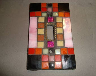 MOSAIC Light Switch Plate -  Single Switch, Wall Art, Wall Plate, Stained Glass, Pink, Red, black, Gold