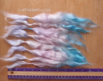 Mohair Doll Hair extra long  locks 9 in Combed fiber ombre blue pink lilac angora mohair fiber reroot/ Reborn/ lati/ blythe/ weft it