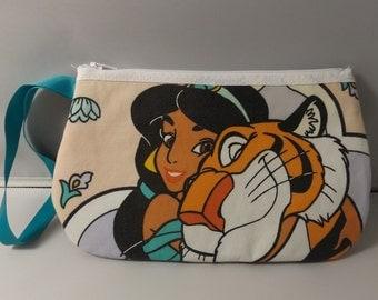 Jasmine and Rajah Wristlet / Pouch -- Handmade  Vintage Aladdin..Disney Princess