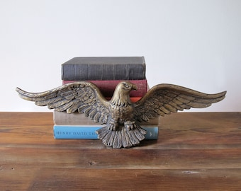 Vintage Brass-Colored Bald Eagle American Eagle Wall Hanging