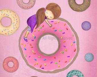 Donuts Art Print,Kids Room Artwork, Girls Pink Room Design,Daughter Birthday Gift, Doughnuts Poster Art Print Illustration, Baby Nursery Art