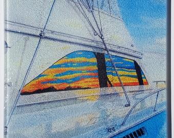 Viking Sportfishing Boat glass cutting board offshore tournaments tuna tower nautical gift