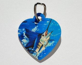 Sailfish hooked up fishing  heart Pet tag aluminum Dogs Cats Zipper pull
