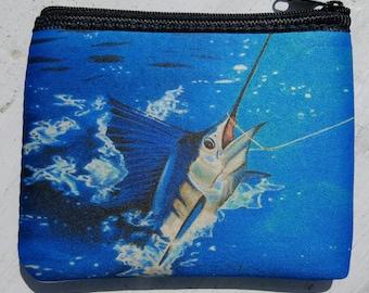 Sailfish Hooked Up art Coin Purse zippered pouch neoprene
