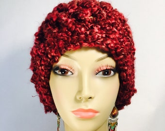 Warm and Fuzzy Maroon Hat