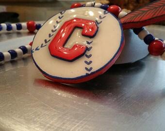 Cleveland Baseball Tiki Necklace Indians inspired