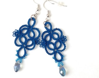 Blue Lace Earrings-Wedgewood Blue Earrings-Lacy Dangle Earring-Tatted Lace Jewelry-Gift for Her-Jewel Earring-Girlfriend-Night Out-Adornment