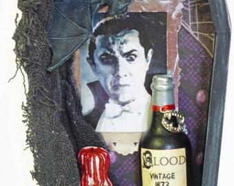 Coffin Shadow Box - Dracula Shadow Box - Vampire Wall Art - Gothic Home Decor - Dark Art