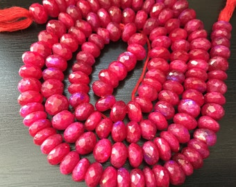 Ruby Moonstone Faceted Rondelle Beads (No. 1504)