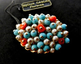 Rarest Creation by Cascio, Florence-high-end cluster brooch with turquoise,Mediterranean coral & cultured pearls on gold plating-Art.563/4 -