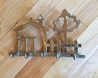 Brass Key Holder - Vintage - Solid Brass - Five Hooks - Home Decor - Retro Charm