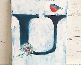 Initial art, custom art, original design, bird, monogram art, 11 x 14 canvas