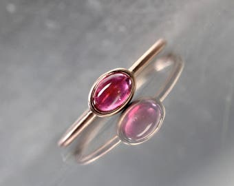 Deep Pink Tourmaline 14K Rose Gold Ring Stackable Modern Delicate Vibrant Raspberry Red Brazilian Gemstone Oval Cabochon Band - Cherry Child