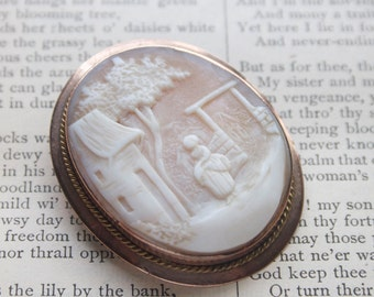 Victorian Cameo Brooch, Carved Shell, Rebecca At The Well, Country Scene, Gift For Grandma, Mom, Under 50