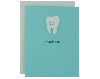 Pastel Blue Tooth Card Thank You Card Teeth Dentistry Greeting Card Dentist Gift Dentist Card Thank You Dental Hygienist Dental Tooth Cards