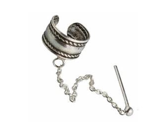Silver Ear Cuff, Tribal ear cuff, Ear cuff with a chain and a stud, Cartilage earrings, Indian ear cuff,Silver Ear Cuff with chained stud
