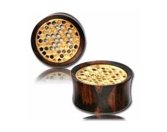 Wooden Ear Plug, Ear plugs, Brass Honeycomb Wooden Plugs, Tamarind Wood Ear Plug, Organic Ear Gauge, Wooden Tribal Jewelry, Organic Jewelry