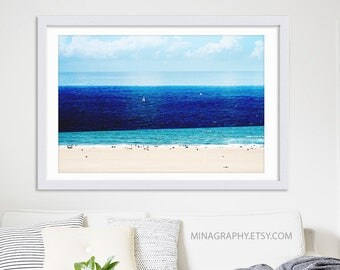 "Beach Photography Collage // Large Beach Photography // Large Wall Art Print // Navy Blue Nautical Wall Art // Los Angeles // ""Sail"""