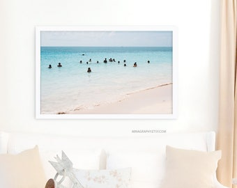 "Contemporary Art Beach Wall Art // Large Beach Photography // Large Wall Art Print // Beach People Wall Art // Large Beach Print // ""Tulum"""