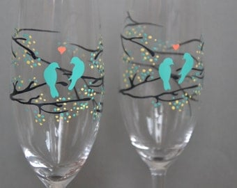 Hand painted Wedding Toasting Flutes Set of 2 Personalized Champagne glasses Gray tree branches with leaves and sea blue birds