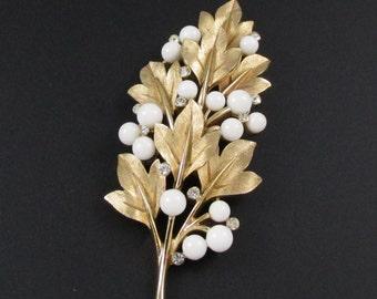 Trifari Leaf Brooch, Trifari Rhinestone Brooch, White Trifari Brooch, Gold Trifari Brooch