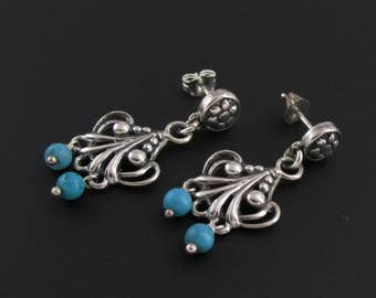 Sterling Silver Turquoise Earrings, Sterling Silver Earrings, Art Nouveau Earrings, Southwest Earrings, Sterling Earrings, Nouveau Revival