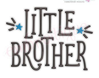 Little Brother with Stars  - sibling design  -Instant Download Machine Embroidery Design