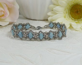 Woven Silky Bracelet Textured Denim Blue and Antiqued Silver