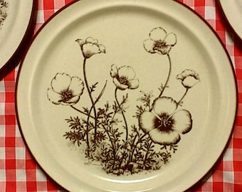 "Noritake Stoneware Desert Flowers Mexican Poppy Vintage 1970's Plates 10.5"" Brown on Cream"