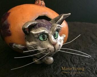 Cheshire Cat Alice in Wonderland OOAK Ornament Egg Art