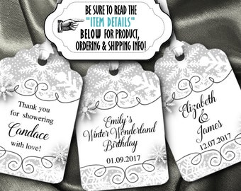 12 Favor Tags, Gift Tag, Winter Snowflakes, Wedding, Bridal Shower, Engagement Party, Birthday, Baby Shower, Silver or Gold
