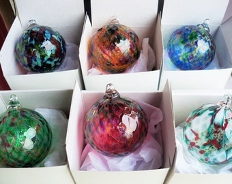Blown Glass Christmas Ornament/Ball/Suncatcher -  Multicolored ,Set of 6