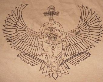 T-Shirt - Winged Scarab (Black on Tan)