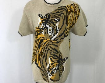 Vintage 1980s Oversized Bengal Tiger Sweater S