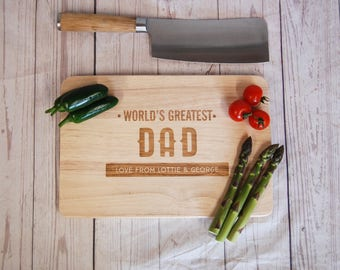 Personalised Father's Day chopping board the World's Greatest Dad ~ Personalised Cutting board ~ Fathers Day ~ Gift for Daddy