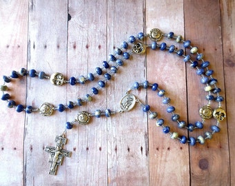 Franciscan Crown Rosary of Blue and White Sodalite with Saint Francis/ Saint Anthony Center and San Damiano Crucifix