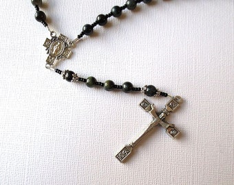 Dark Blue Catholic Rosary of Blue Tiger Eye with Miraculous Medal Center and Risen Christ Cross