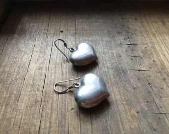 Vintage 925 sterling silver puffy heart dangle earrings, Mexican silver heart icon, boho silver wide puffed heart on French hook earrings