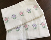 Beautiful Handmade Vintage Embroidered Pillowcases, Floral Pillow Cases, Guest Room, Shabby Chic Cottage, Crisp White Bedding, Wedding Gift