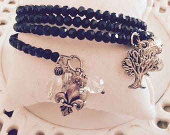 Black Swarovski Crystal Wire Wrap Bracelet & Charms